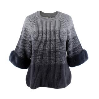 Fendi Monochrome Grey Ombre Wool Jumper with Mink Fur Cuffs