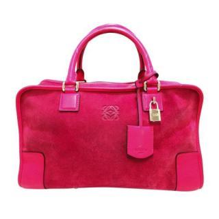 Loewe Pink Amazona Suede Leather Handbag