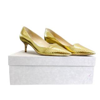 Jimmy Choo Gold Mirrored Embossed Kitten Heel Pumps