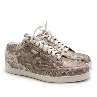 Jimmy Choo Python Embossed Mid-Low Trainers