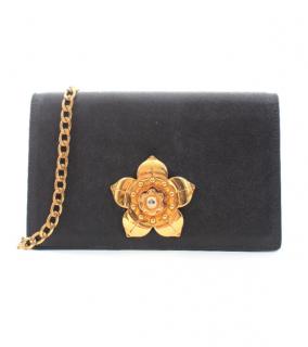 Prada Saffiano Leather Embellished Corolle Shoulder Bag