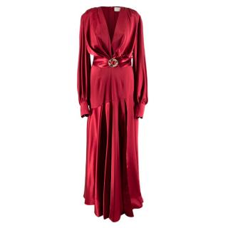 Bronx & Banco Silk Maroon Belted Gown