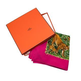Hermes Pink Equateur Silk Scarf 90
