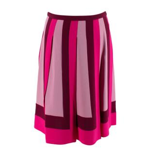 Valentino Tri-Tone Pink Mid-Rise Pleated Skirt
