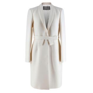 Giambattista Valli White Virgin Wool Belted Coat