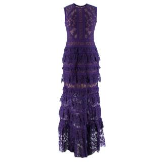 Elie Saab Purple Lace Tiered Sleeveless Gown