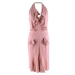 Tom Ford Pink Silk Ruffled Halterneck Dress