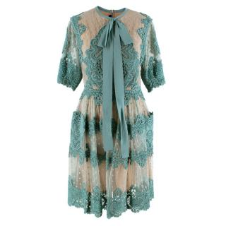 Elie Saab Turquoise Floral Embroidered Tulle Dress