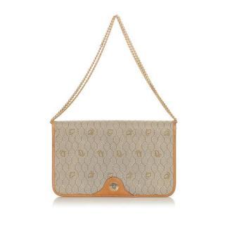 Dior VIntage Honeycomb Coated Canvas Chain Shoulder Bag