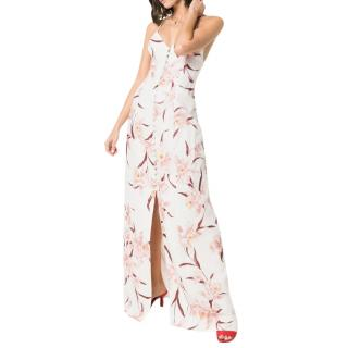 Zimmermann Corsage Slip Ivory Peach Orchid Linen Dress