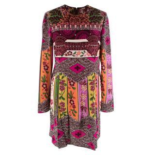 Valentino Multi Print Silk Long Sleeve Dress