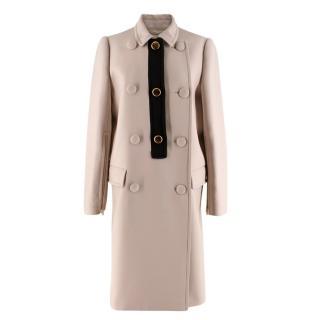 Prada Beige Double Breasted Wool Coat