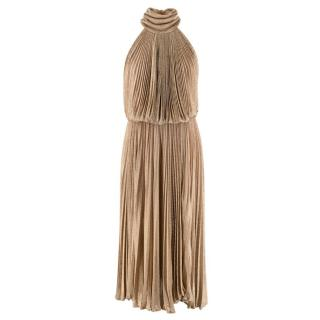Maria Lucia Hohan Gold Lurex Knit Pleated Dress