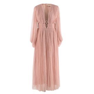 Maria Lucia Hohan Blush Pleated Plunge Neck Dress