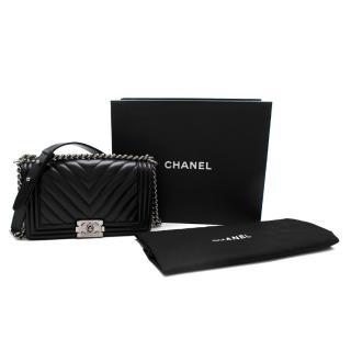 Chanel Black Chevron Lambskin Boy Bag