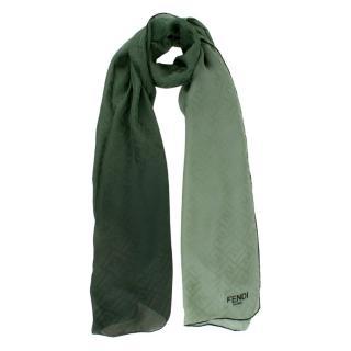 Fendi Green Gradient FF Monogram Silk Scarf
