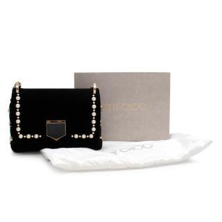 Jimmy Choo Lockett mini faux pearl-embellished velvet shoulder bag