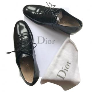Dior Black Glossy Lace-Up Derbies