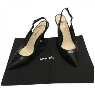 Chanel Black Leather & Grosgrain Slingback Sandals