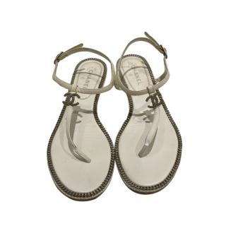 Chanel White CC Leather Thong Sandals