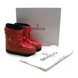 Moncler Red Suede & Nylon Petite Fanny Snow Boots