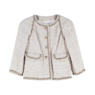 Chanel Cream Cotton-blend Tweed Collarless Jacket