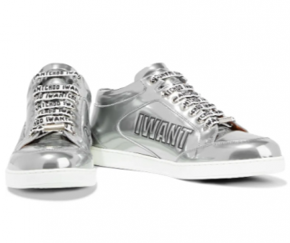JImmy Choo Miami logo-embossed mirrored-leather sneakers