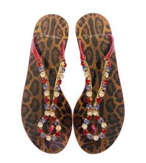 Dolce & Gabbana Crystal Embellished Thong Sandals