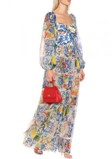 Dolce & Gabbana Majolica Silk-blend Chiffon Gown