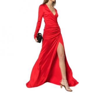 Galvan London Allegra Ruched Waist Red Dress