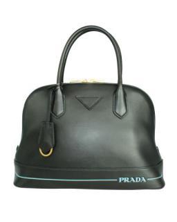 Prada Blue Stripe Black Promenade Tote Bag