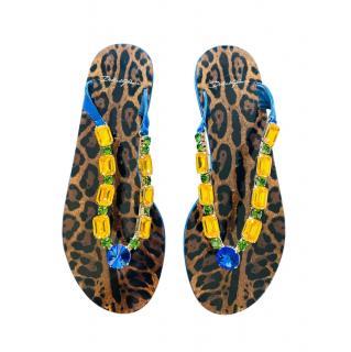 Dolce & Gabbana Crystal Embellished Leopard Thong Sandals