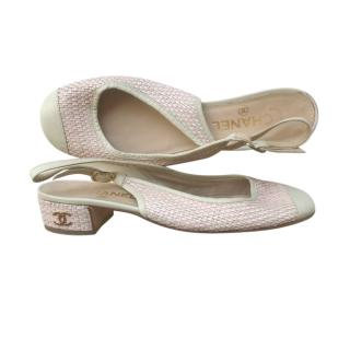 Chanel Pink & White Woven Slingback Sandals