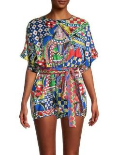 Dolce & Gabbana Queen Of Hearts Print Silk Playsuit