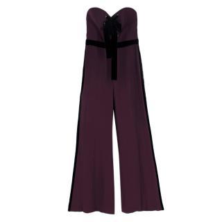 Elie Saab Purple lace-Up Strapless Jumpsuit