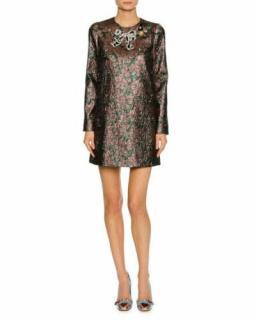 Dolce & Gabbana Embellished Metallic Jacquard Mini Dress