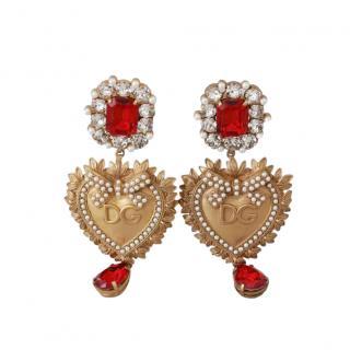 Dolce & Gabbana Sacred Heart Crystal Drop Earrings
