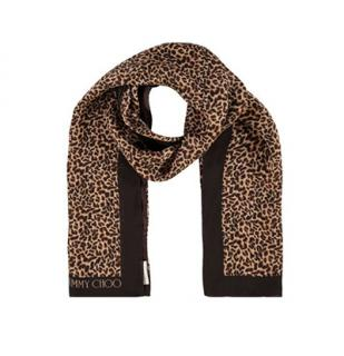 Jimmy Choo leopard print silk scarf