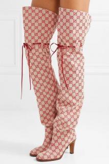 Gucci Red Jacquard Drawstring OTK Boots