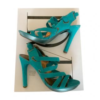 DVF Turquoise Suede Strappy Sandals