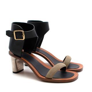 Celine Black/Khaki Leather Sandals With Metal Heels