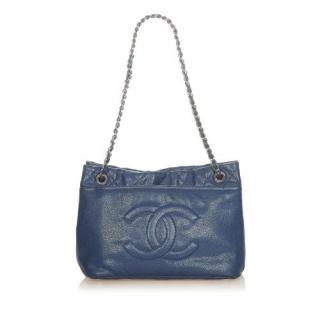 Chanel Blue Caviar Leather CC Shoulder Bag