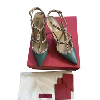 Valentino Poudre/Forrest Green Rockstud Sandals