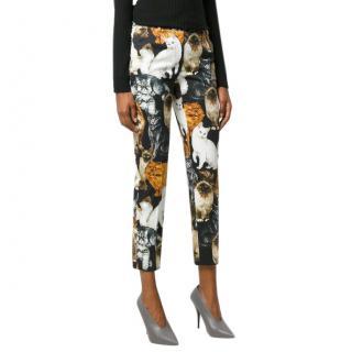 Dolce & Gabbana Cat Print Straight Leg Pants