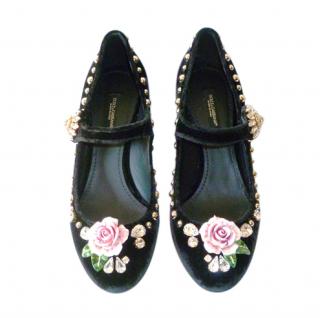 Dolce & Gabbana Embellished Velvet Mary-Jane Pumps