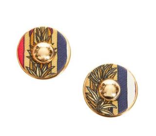 Hermes Round Striped Printed Silk Vintage Earrings
