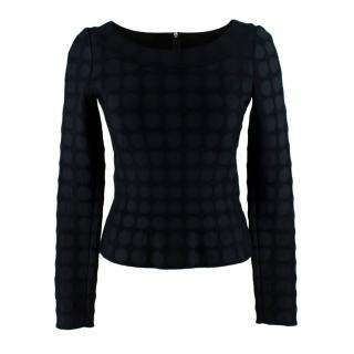 Alaia Black Textured Long Sleeve Stretch Knit Top