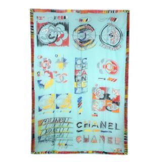 Chanel Turquoise CC Logo & Camellia Sketch Print Cashmere Shawl
