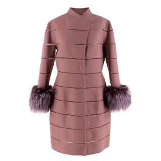 J.Mendel Mauve Panelled Cashmere & Wool Coat with Fox Fur Cuffs