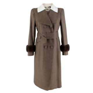 Fendi Brown Mink Fur Trim Butterfly Lapel Coat